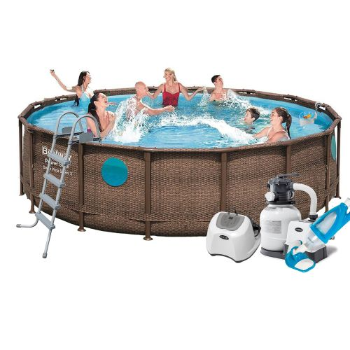 Каркасный бассейн Bestway 56725 - 11, 488 х 122 см (5 г/ч, 6 000 л/ч, лестница, тент, подстилка, набор для ухода)