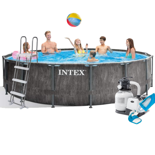 Каркасный бассейн Intex 26742 - 7, 457 x 122 см (6 000 л/ч, лестница, тент, подстилка, набор для ухода)