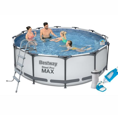 Каркасный бассейн Bestway 56420 - 5, 366 х 122 см (3 785 л/ч, лестница, тент, подстилка, набор для ухода)