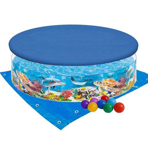 Бассейн детский каркасный Intex 58472-3 «Океанский риф»,  244 х 46 см, с шариками 10 шт, тентом, подстилкой