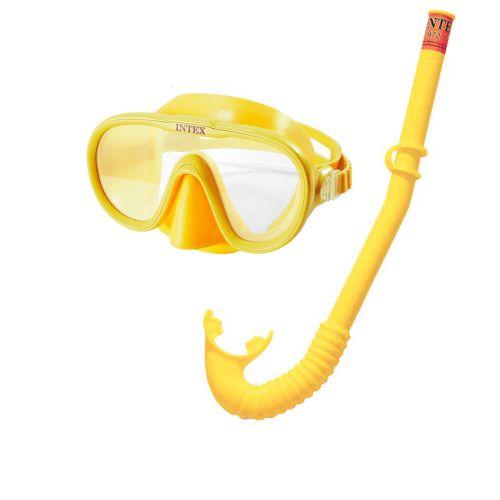 Набор 2 в 1 для плавания Intex 55642 (маска 55916: размер M, (8+), обхват головы ≈ 50-56 см, трубка 55922), желтый