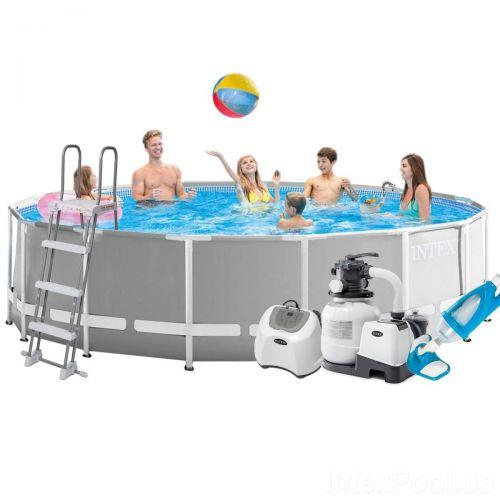 Каркасный бассейн Intex 26726 - 11, 457 x 122 см (5 г/ч, 6 000 л/ч, лестница, тент, подстилка, набор для ухода)