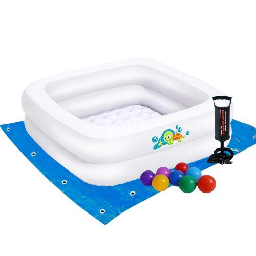 Детский надувной бассейн Bestway 51116-2, белый, 86 х 86 х 25 см, с шариками 10 шт, подстилкой, насосом
