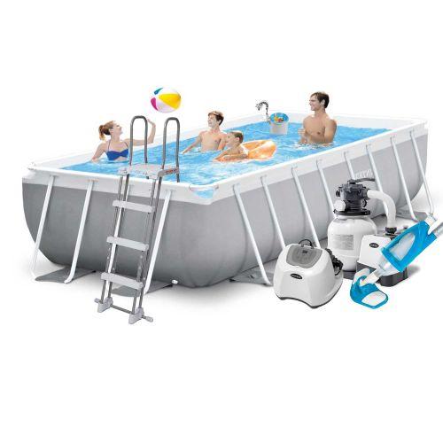 Каркасный бассейн Intex 26790 - 11, 400 х 200 х 122 см (5 г/ч, 6 000 л/ч, лестница, тент, подстилка, набор для ухода)