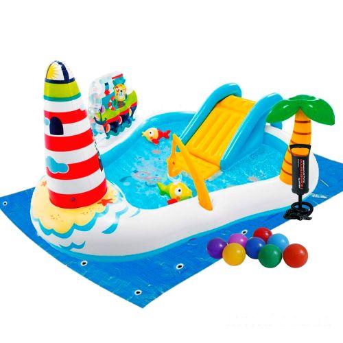 Надувной игровой центр Intex 57162-2 «Веселая Рыбалка», 218 x 188 x 99 см, с надувной удочкой, 2 рыбки, с шариками 16 шт, насосом и подстилкой