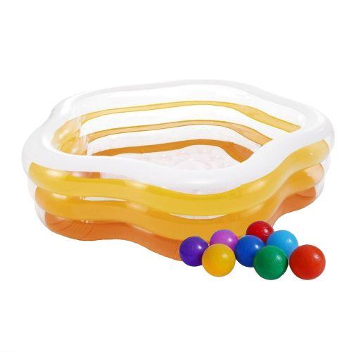 Детский надувной бассейн Intex 56495-1 «Морская звезда», 183 х 180 х 53 см, желтый, с шариками 10 шт