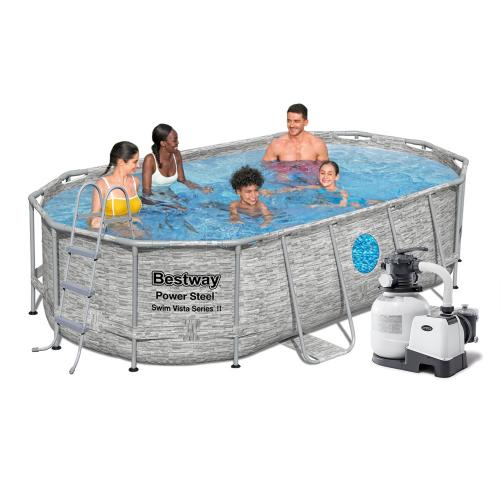 Каркасный бассейн Bestway 56714-6, 427 х 250 х 100 см (6 000 л/ч, лестница, тент, подстилка)