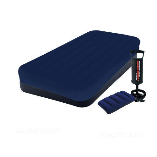 Надувной матрас Intex 64141-3, 99 x 191 x 25 см, с наматрасником-чехом, подушкой и ручным насосом. Одноместный